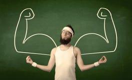 El estudiante flaco quiere los músculos Imagenes de archivo