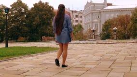 El estudiante irreconocible camina con el ordenador almacen de video
