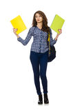 El estudiante joven aislado en blanco Fotos de archivo libres de regalías
