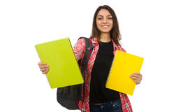 El estudiante joven aislado en blanco Imagenes de archivo