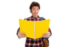 El estudiante joven aislado en blanco Imágenes de archivo libres de regalías