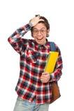 El estudiante joven aislado en blanco fotografía de archivo