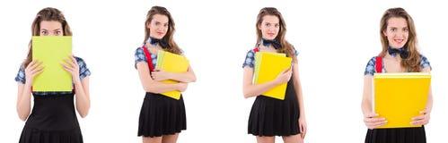 El estudiante joven aislado en el blanco Imagenes de archivo