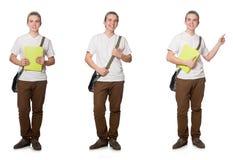 El estudiante joven aislado en el fondo blanco Fotografía de archivo