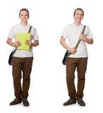 El estudiante joven aislado en el fondo blanco Imagenes de archivo