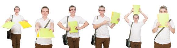 El estudiante joven aislado en el fondo blanco Foto de archivo libre de regalías
