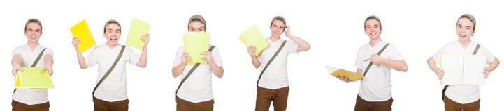 El estudiante joven aislado en el fondo blanco Fotos de archivo