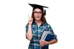 El estudiante joven aislado en el fondo blanco imágenes de archivo libres de regalías