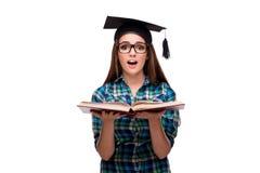 El estudiante joven aislado en el fondo blanco Imagen de archivo