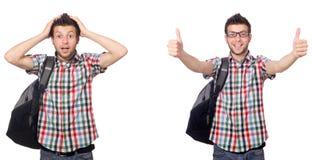 El estudiante joven aislado en el fondo blanco Fotos de archivo libres de regalías