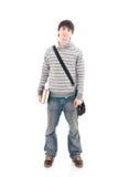 El estudiante joven aislado en un blanco Imagen de archivo