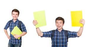 El estudiante joven con el libro en blanco Fotos de archivo libres de regalías