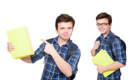 El estudiante joven con el libro en blanco Fotografía de archivo libre de regalías