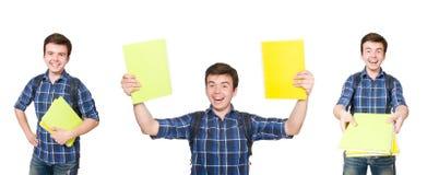 El estudiante joven con el libro en blanco Foto de archivo