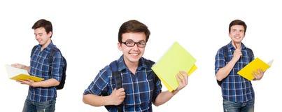 El estudiante joven con el libro en blanco Imagen de archivo