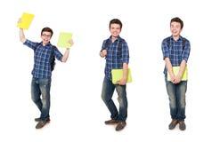 El estudiante joven con el libro en blanco Imagenes de archivo
