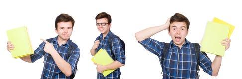 El estudiante joven con el libro en blanco Imagen de archivo libre de regalías