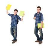 El estudiante joven con el libro en blanco Foto de archivo libre de regalías