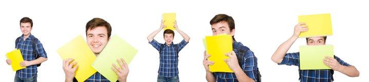 El estudiante joven con el libro en blanco Fotografía de archivo