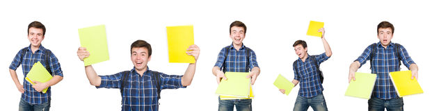 El estudiante joven con el libro en blanco Fotos de archivo