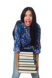 El estudiante joven con los libros en blanco Fotos de archivo libres de regalías