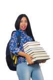 El estudiante joven con los libros en blanco Imagen de archivo libre de regalías