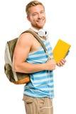 El estudiante joven confiado manosea con los dedos encima de muestra en el fondo blanco Foto de archivo libre de regalías