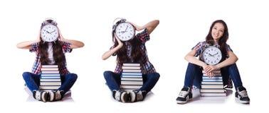 El estudiante joven que falta sus plazos en blanco imagen de archivo