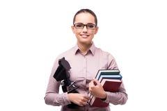 El estudiante joven que se prepara para el examen de la química Imágenes de archivo libres de regalías