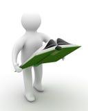 El estudiante lee el libro. Imagen de archivo
