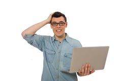 El estudiante masculino joven aislado en blanco Foto de archivo libre de regalías