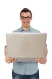 El estudiante masculino joven aislado en blanco Imagen de archivo libre de regalías