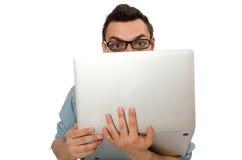 El estudiante masculino joven aislado en blanco Imágenes de archivo libres de regalías