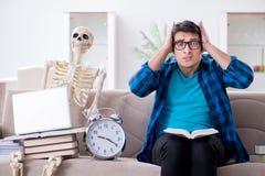 El estudiante que estudia con el esqueleto que se prepara para los exámenes Fotos de archivo libres de regalías
