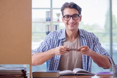 El estudiante que estudia en casa la preparación para el examen Imagen de archivo libre de regalías