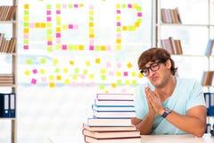 El estudiante que se prepara para los ex?menes de la universidad fotos de archivo