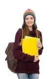 El estudiante sonriente con la mochila aislada en blanco Imágenes de archivo libres de regalías