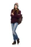 El estudiante sonriente con la mochila aislada en blanco Fotos de archivo libres de regalías