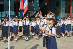 El estudiante tailandés explora campo Imagen de archivo