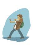 El estudiante tira una catapulta Fotografía de archivo
