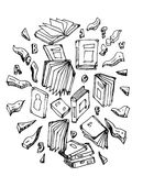 El estudiante y los libros, fijaron símbolos de los libros Fotografía de archivo