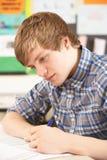 El estudiar adolescente masculino del estudiante Imagen de archivo
