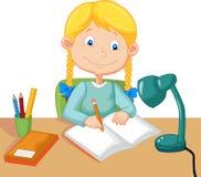 El estudiar de la niña ilustración del vector
