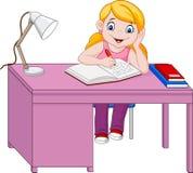 El estudiar de la niña de la historieta ilustración del vector