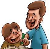 El estudiar del papá y del hijo