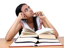 El estudiar indio del estudiante. Foto de archivo