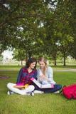El estudiar sonriente de los estudiantes al aire libre Imágenes de archivo libres de regalías