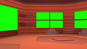 El estudio de difusión virtual con área de pantalla verde El movimiento de la cámara es incluido libre illustration