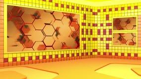 El estudio de difusión virtual con la colocación del vídeo abstracto de la cantidad y del área de pantalla verde stock de ilustración