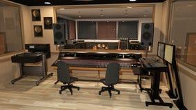 El estudio de grabación de la música con el mezclador de sonidos, los instrumentos, los altavoces, y el equipo de audio, 3D rinde imagen de archivo